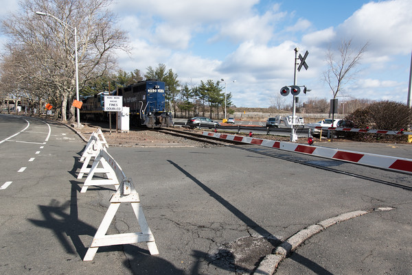 04/05/18 Wesley Bunnell   Staff Pan-Am crews are on the scene of a train derailment on Thursday morning in front of Columbus Plaza assessing and making repairs to the tracks. The site was also the scene of a derailment in 2016. The entrance to the plaza on the Columbus Blvd side was closed to traffic to allow crew to make repairs.