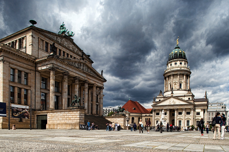 The Konzerthaus (left) and the French Cathedral (Französische Dom, right), on Gendarmenmarkt square, Berlin, Germany