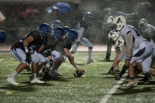 11/09/18 Wesley Bunnell | Staff Plainville vs Avon at Plainville High School on Friday night. Plainville with goal to go in a heavy rain.