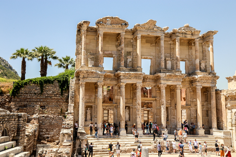 Old structure with columns, Library of Celcus in Ephesus, Turkey