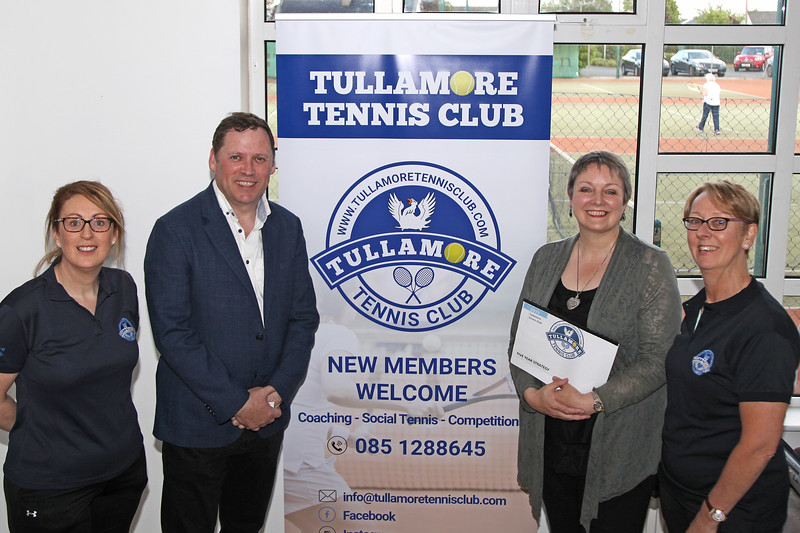 TDs Barry Cowen and Marcella Corcoran Kennedy pictured with Edel Galvin and Sandra O'Connor at Tullamore Tennis Club's open night on Monday - 17th June 2019     Picture. Niall O'Mara