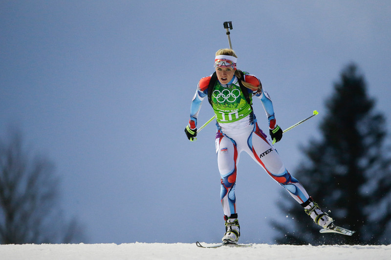 . Czech Republic\'s Gabriela Soukalova skis during the women\'s biathlon 4x6k relay at the 2014 Winter Olympics, Friday, Feb. 21, 2014, in Krasnaya Polyana, Russia. (AP Photo/Felipe Dana)