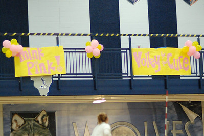 Oswego East Soph. Vs Oswego Think pink volley for a cure