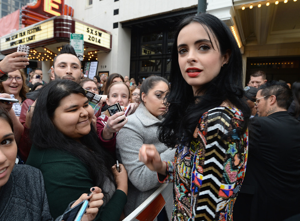 """. Actress Krysten Ritter arrives at the premiere of \""""Veronica Mars\"""" during the 2014 SXSW Music, Film + Interactive Festival at the Paramount Theatre on March 8, 2014 in Austin, Texas.  (Photo by Michael Buckner/Getty Images for SXSW)"""