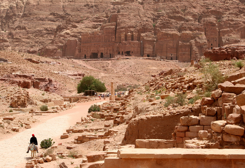 Petra - A view back down the Colonnade Street towards the Royal Tombs.  The tree marks the location of the Nymphaeum, a public fountain dedicated to the nymphs probably built in the 2nd century AD.