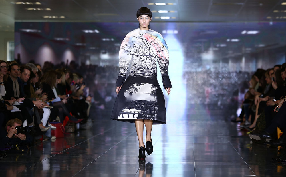 Description of . A model walks the runway at the Mary Katrantzou show during London Fashion Week Fall/Winter 2013/14 at Howich Place  on February 17, 2013 in London, England.  (Photo by Tim Whitby/Getty Images)