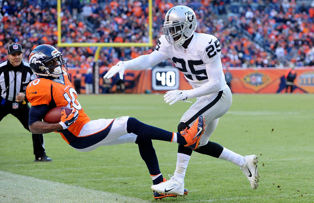 . DENVER, CO - DECEMBER 28: Denver Broncos wide receiver Emmanuel Sanders his knocked out of bounds by Oakland Raiders cornerback D.J. Hayden  in the second quarter at Sports Authority Field at Mile High in Denver on December 28, 2014. (Photo by Steve Nehf/The Denver Post)