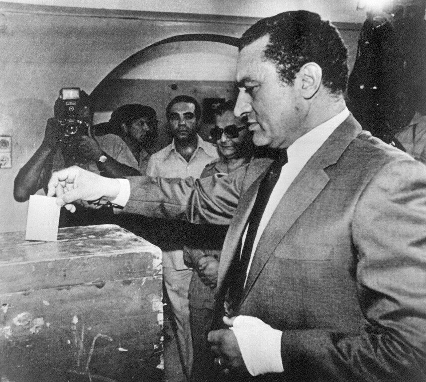 . Vice-President Hosni Mubarak casts his vote, 13 October 1981, during a national referendum to decide whether he will succeed the slain President Anwar Sadat as leader of Egypt. Mubarak came to office as Egyptís fourth president after late President Anwar Sadat was slained by a group of military Islamist fundamentalists with allegiance to the Al-Jihad during a military parade 06 October 1981 and remained in power until resigning after a wave of popular protests in February 2011. TOM HARTWELL/AFP/Getty Images