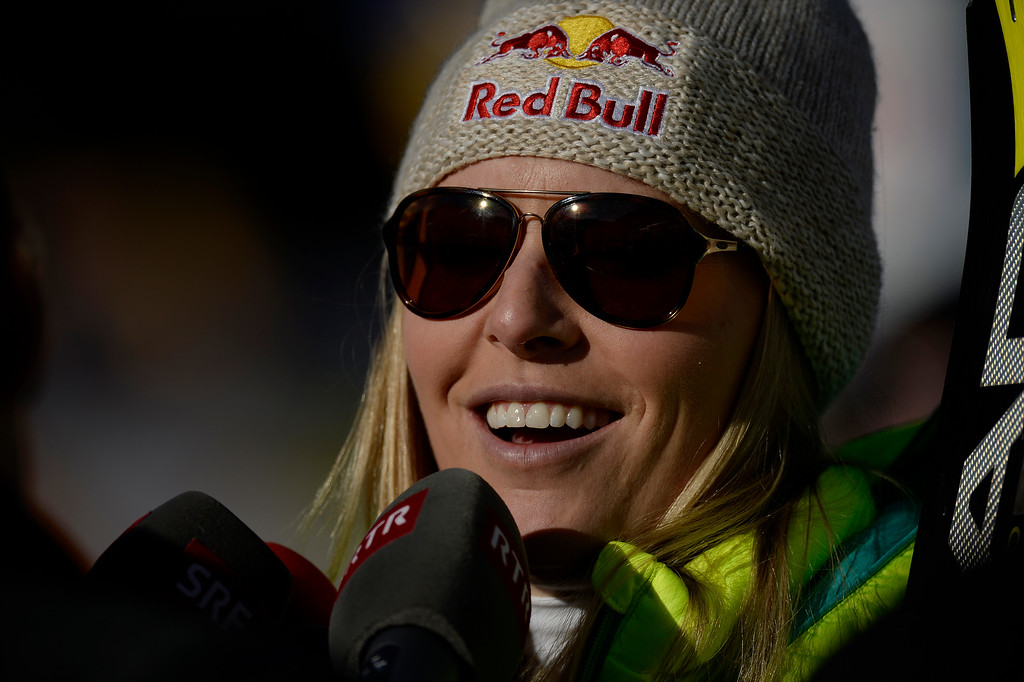 . BEAVER CREEK, CO - FEBRUARY 12: Lindsey Vonn gives an interview after her run during the ladies\' giant slalom. FIS Alpine World Ski Championships 2015 on Thursday, February 12, 2015. (Photo by AAron Ontiveroz/The Denver Post)