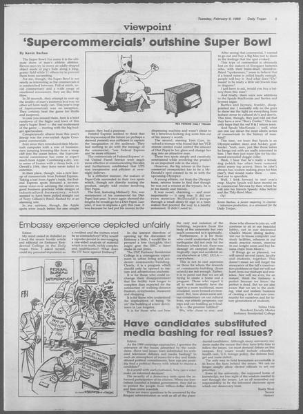 Daily Trojan, Vol. 106, No. 21, February 09, 1988
