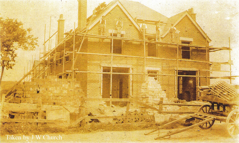 Construction of the Red House in Spaldwick. Photo provided by John Blatch and scanned in high resolution. The Red House became a tea room and bed and breakfast. The house was bought as a Vicarage in about 1952.