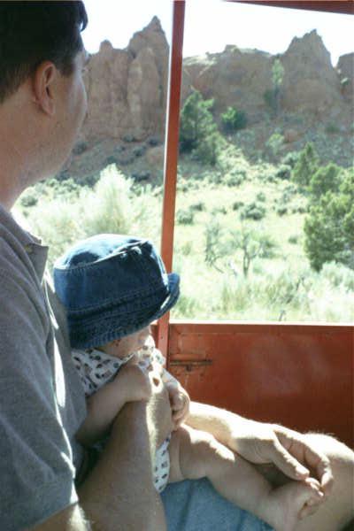 99 Allen on stagecoach w Dad.JPG