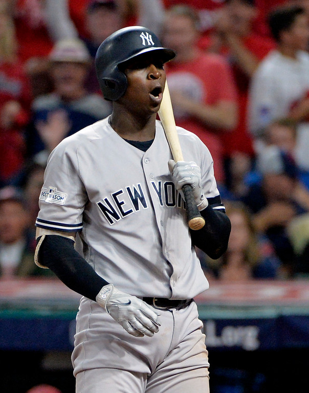 . New York Yankees\' Didi Gregorius reacts after striking out against Cleveland Indians starting pitcher Trevor Bauer during the fourth inning of Game 1 of a baseball American League Division Series, Thursday, Oct. 5, 2017, in Cleveland. (AP Photo/Phil Long)