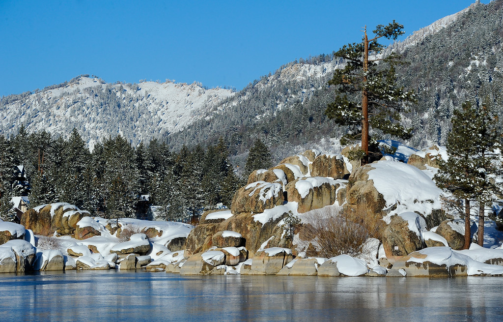 . A view of Big Bear Lake during day four of the search for fugitive ex-cop Christopher Dorner in Big Bear on Sunday, Feb. 10, 2013. (Rachel Luna / Staff Photographer)