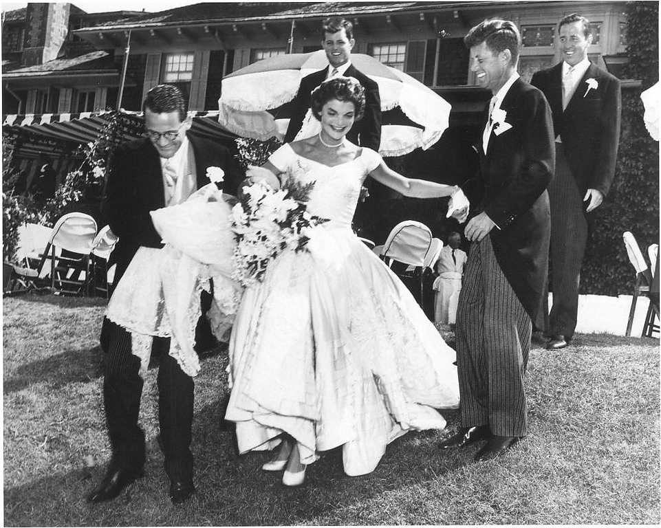 . Jacqueline Bouvier Kennedy and Sen.  John F. Kennedy celebrate during their wedding reception at Hammersmith Farm, Newport, R.I., on Sept. 12, 1953.
