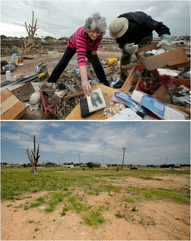 . In this photo combination, Lea Bessinger, left, salvages a depiction of Jesus as she and her son, Josh Bessinger, sort through the rubble of her tornado-ravaged home in Moore, Okla., May 21, 2013, top. A vacant lot is all that remains on the site on May 7, 2014, bottom. (AP Photo/Charlie Riedel)