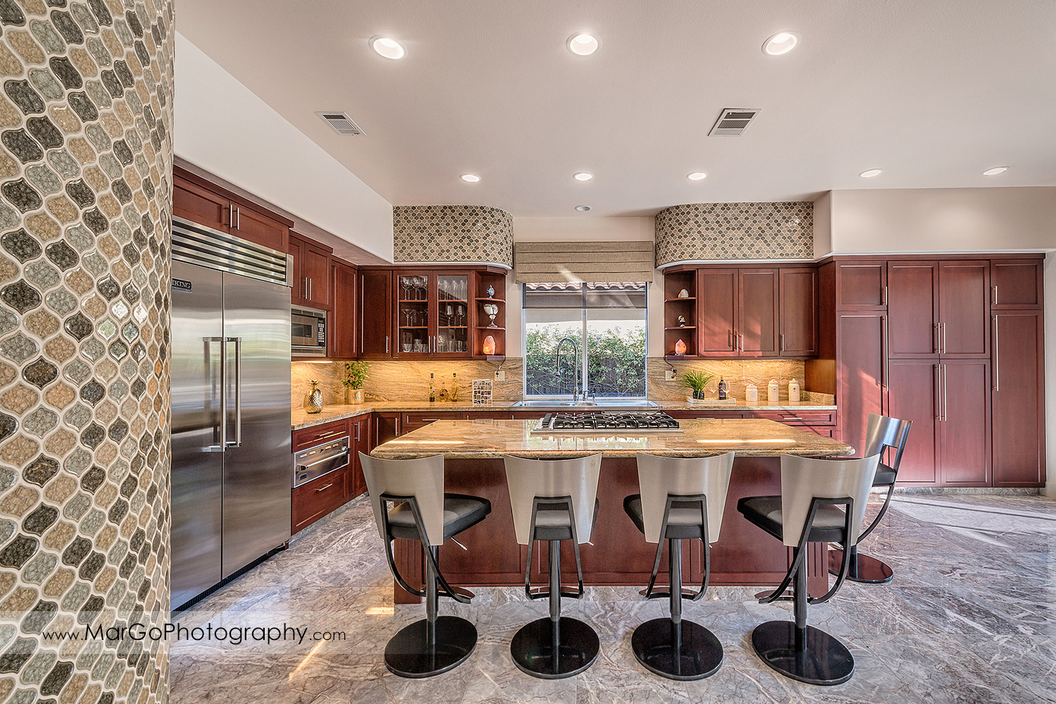 kitchen with island and dark wooden cabinets in San Ramon house - real estate photography