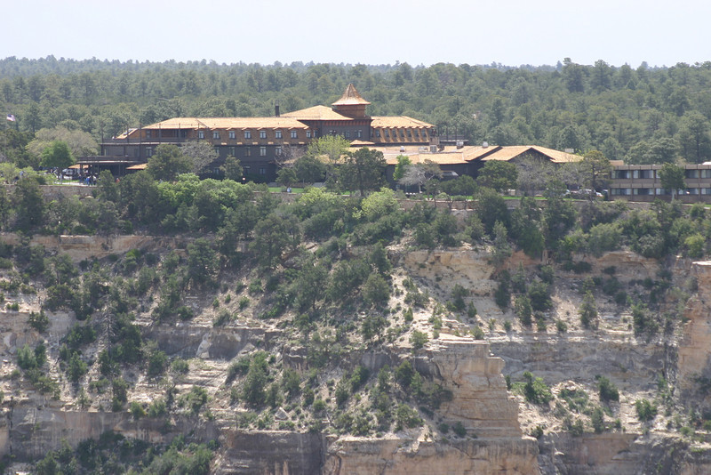A view of El Tovar, the big lodge in Grand Canyon Village. It's not exactly on the edge of the cliffs--there's lawn and a path and a railing.