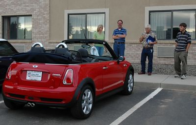 Brand new convertible (two days and several hundred miles) of Paul (2nd from right), a resident of Grand Junction. Paul's son is at the right. On the left is Nancy and David.
