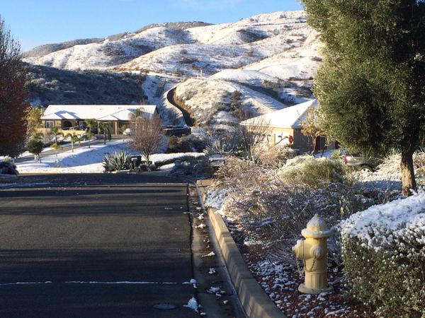 . Yucaipa received a dusting of snow overnight. On Wednesday morning, Dec. 31, 2014, the snow was beginning to melt from the foothill communities. (Photo by Rick Sforza/The Sun)