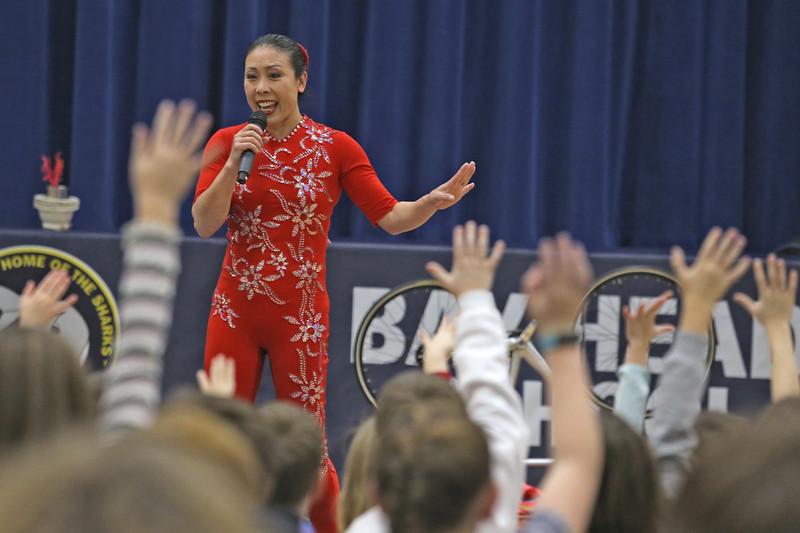 Acrobat Li Liu performs for students at the Bay Head Elementary School in Bay Head on Friday Feb. 1, 2019.  (MARK R. SULLIVAN/THE OCEAN STAR)