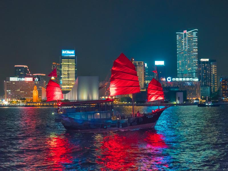 Chinese Junk Boat In Hong Kong Harbor