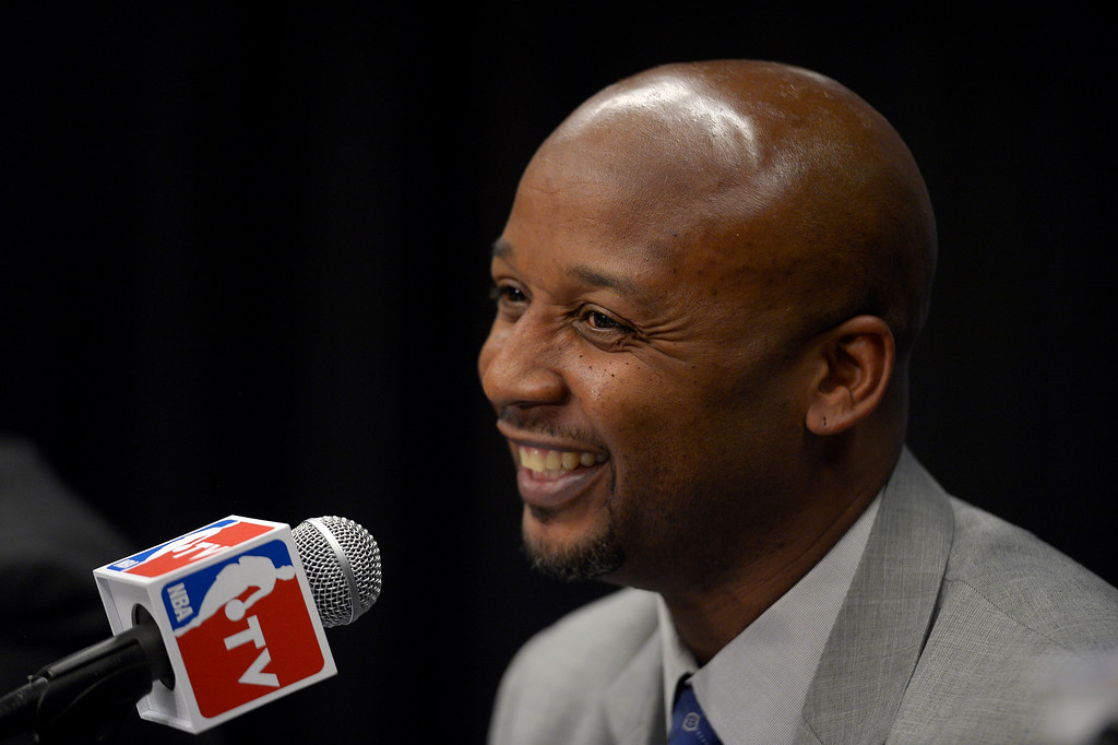 . The Denver Nuggets new head coach Brian Shaw smiles June 25, 2013 during a press conference  at Pepsi Center. (Photo By John Leyba/The Denver Post)