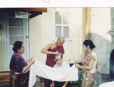 Dr Aung Aung Htoon becoming monk [1993]