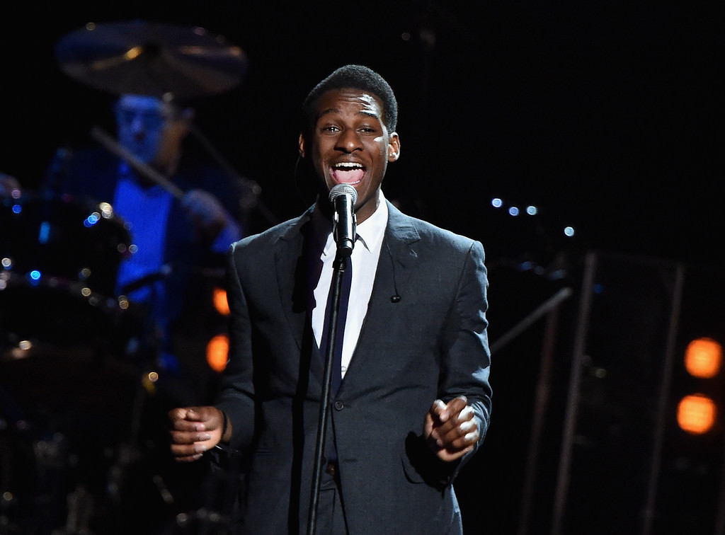 . Musician Leon Bridges performs a song by The 5 Royales onstage during the 30th Annual Rock And Roll Hall Of Fame Induction Ceremony at Public Hall on April 18, 2015 in Cleveland, Ohio.  (Photo by Mike Coppola/Getty Images)