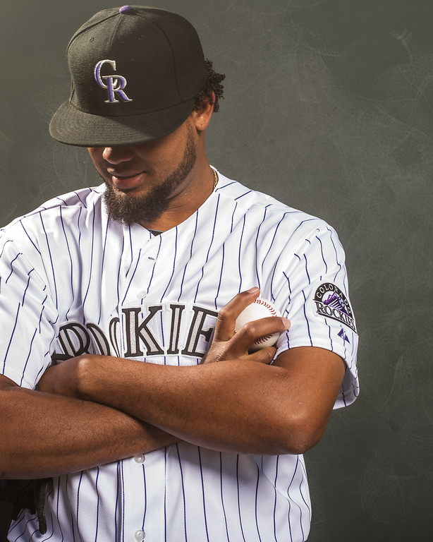 . Manny Corpas #60 of the Colorado Rockies poses for a portrait at the Salt River Fields at Talking Stick on February 26, 2014 in Goodyear, Arizona. (Photo by Rob Tringali/Getty Images)