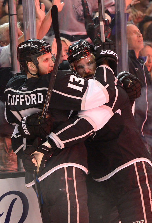 . Kings celebrate a goal by Kyle Clifford in the first period. Fans enter Staples Center before the Los Angeles Kings faced the New York Rangers in game 1 of the Stanley Cup Finals. Los Angeles, CA. 6/4/2014(Photo by John McCoy / Los Angeles Daily News)