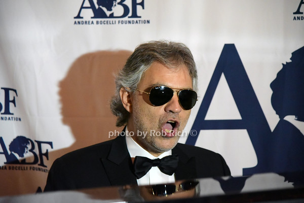Andrea Bocelli sings at the 40th.Anniversary celebration of LeCirque