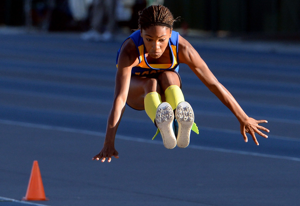 . Agoura\'s Tara Davis competes in the Triple Jump during the CIF-SS Masters Track and Field meet at Falcon Field on the campus of Cerritos College in Norwalk, Calif., on Friday, May 30, 2014.   (Keith Birmingham/Pasadena Star-News)