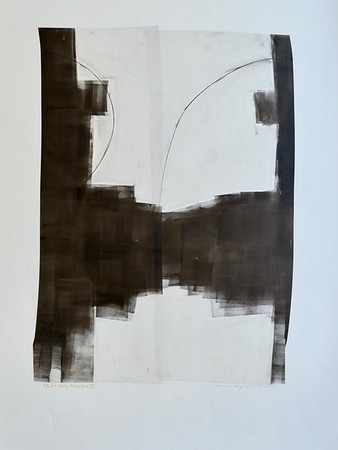 Black and White Structure XI-Mackey, painting on 22x30 paper