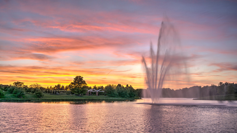 Chicago Botanic Garden Water Fountain Sunset