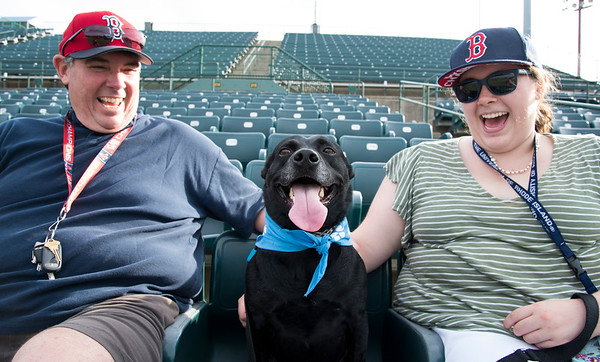 06/07/19 Wesley Bunnell | Staff The New Britain Bees held a Bark in the Park night on Friday where fans were able to bring their pet into the stadium for the game. Katie & Brad Burgdorff arrived early to grab a front row seat along with their dog Riley who is a four year old rescue from Double Dog in Unionville.