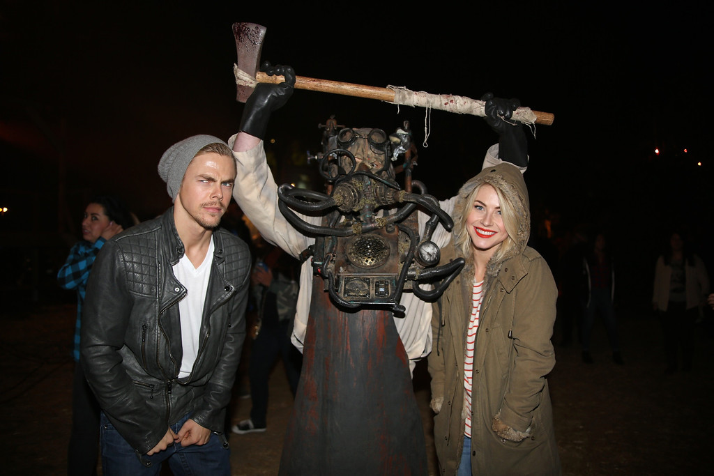 . An actor and Derek and Julianne Hough at the 5th Annual Los Angeles Haunted Hayride Premiere Night on October 10, 2013.  The fifth year anniversary of the Los Angeles Haunted Hayride took Hayriders through scenes of actual hauntings.  The month-long event will once again take place in Griffith Park�s Old Zoo area, which has been home to murder, torture, paranormal activity, serial killers, and abduction. (Photos by Boris Issaei for the Los Angeles Daily News)