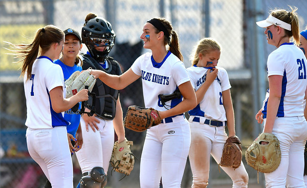 6/8/2019 Mike Orazzi | Staff Southington's Samantha Sullivan (7) and Julia Theriault?(6) during Saturday's Class LL Softball Final at DeLuca Field in Stratford.