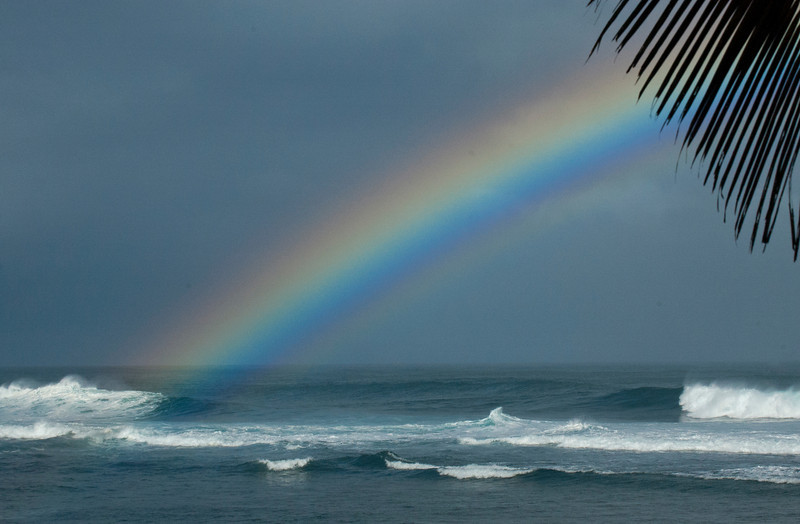 Rainbow off Sunset Point in the morning North Shore of O'ahu, Hawai'i  March 9, 2014