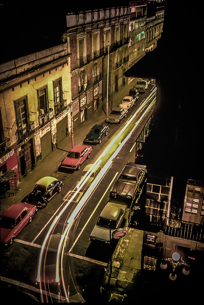 Nightime street view in Puebla, Mexico