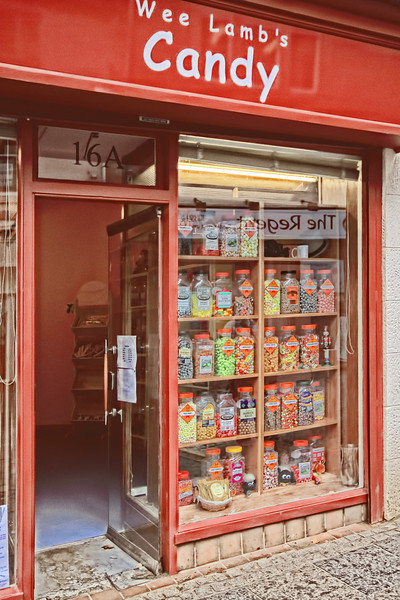 The Wee Lamb's Candy Shop as seen on the high street in Kilsyth, Scotland