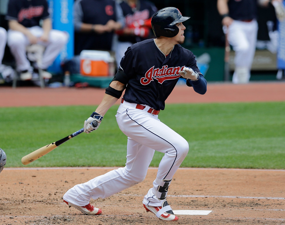. Cleveland Indians\' Bradley Zimmer hits a one-run double off Tampa Bay Rays starting pitcher Alex Cobb in the third inning of a baseball game, Wednesday, May 17, 2017, in Cleveland. Lonnie Chisenhall scored on the play. (AP Photo/Tony Dejak)
