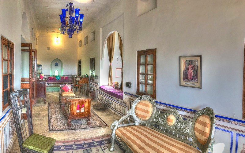 The main salon in our beautiful room at Fort Barli