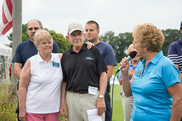 09/11/19 Wesley Bunnell | StaffrrCCARC held their annual golf tournament on Wednesday September 11, 2019 at Timberlin Golf Club in Berlin. Co chairs of the tournmant John Barbieri & Patty Strazzulla look on as CCARC CEO Anne Ruwet speaks.
