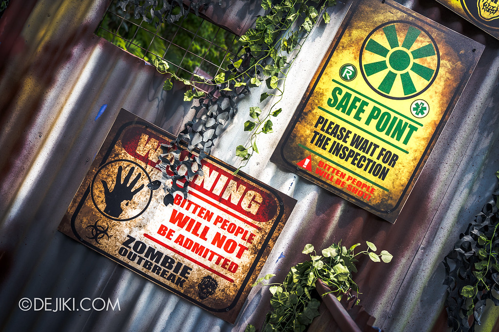 Universal Studios Singapore Halloween Horror Nights 8 / Zombie Laser Tag 2018 warning signs 2