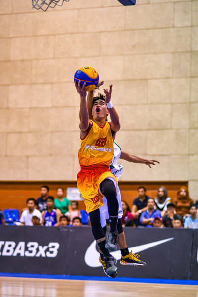 Action during a 3x3 Beat the Heat VIII match at Qatar Basketball Federation Sports Complex 30th August 2019. Photo by Tom Kirkwood