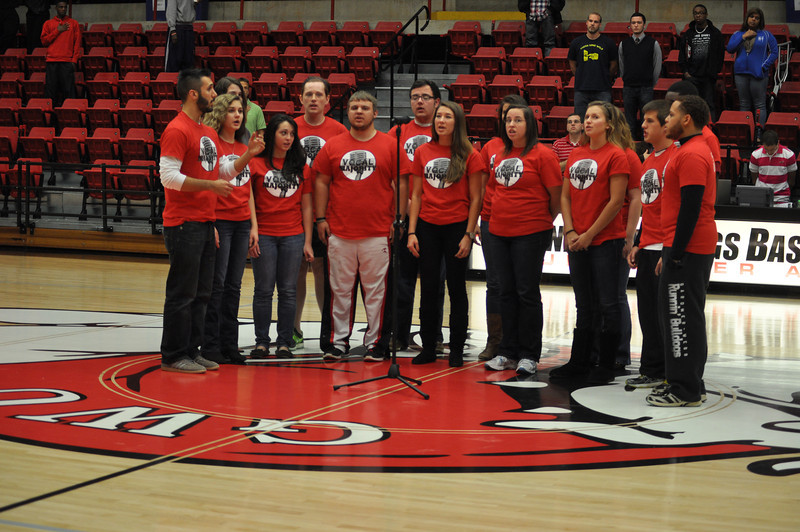 Vocal Majority sings the National Anthem before the Lady Bulldogs face off against Lipscomb University, Friday November 9, 2012 in the LYCC.