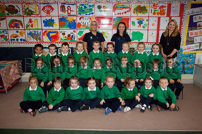 St Ronans PS New primary 1 class pictured with Teacher Mrs Hutchinson and Classroom Assistants Miss  Keeley and Miss Dillon. R1539021