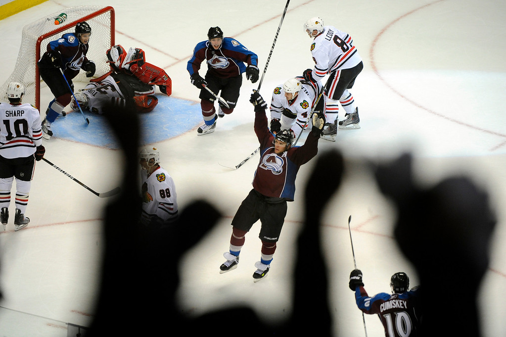 . Colorado center Paul Stastny (26) celebrated his winning goal Thursday night.  The Colorado Avalanche hockey team defeated the Chicago Blackhawks 4-3 in overtime Thursday night, October 7, 2010 at the Pepsi Center in Denver. Karl Gehring/The Denver Post