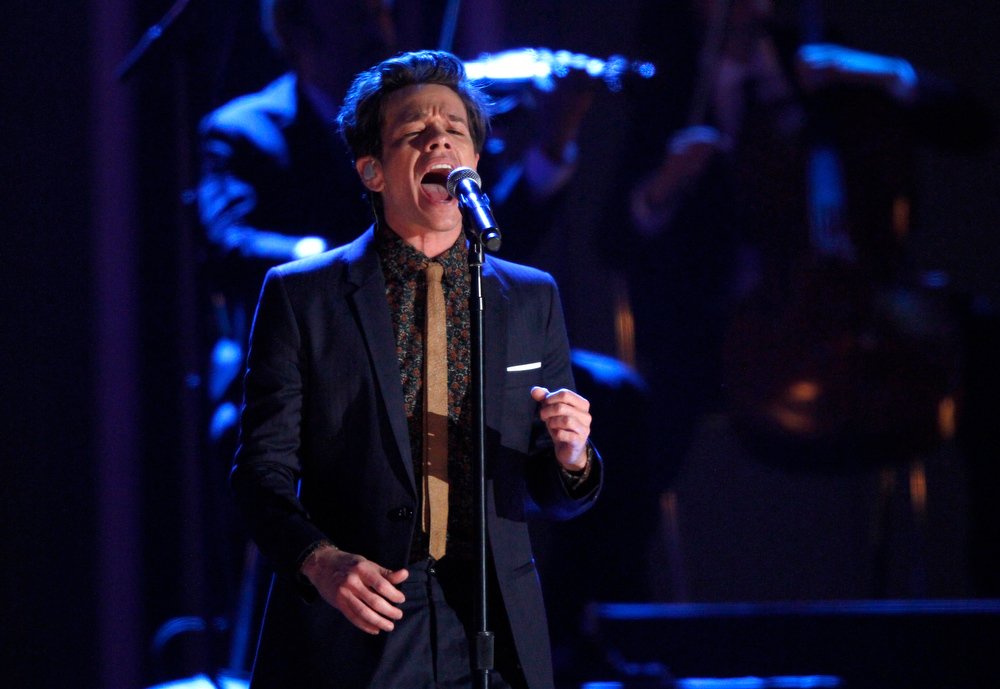 Description of . Nate Ruess, of the musical group fun., performs at the Grammy Nominations Concert Live! at Bridgestone Arena on Wednesday, Dec. 5, 2012, in Nashville, Tenn. (Photo by Wade Payne/Invision/AP)